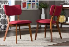 Dining Room Chairs Set Of 2 Side Chair Classic Modern MCM Mid Century Wood RED…