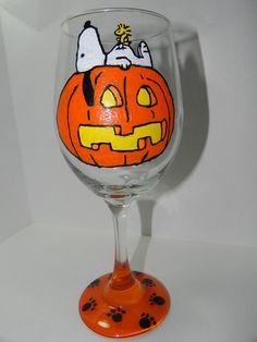 Snoopy Woodstock & Pumpkin, Jack O Lantern, Fall Halloween Hand Painted Wine Glass, Spooky, Cute Wedding, Bridesmaid, Gift, Birthday