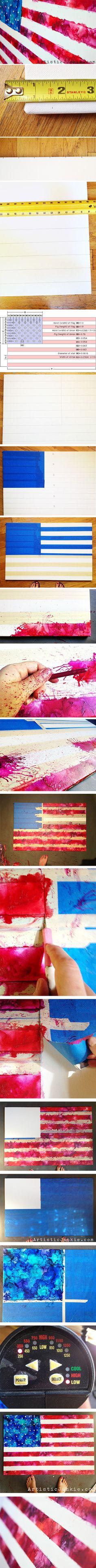 Crayon American Flags