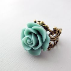 Birds Egg Blue Rose Ring Adjustable Filigree by jFrancesDesign