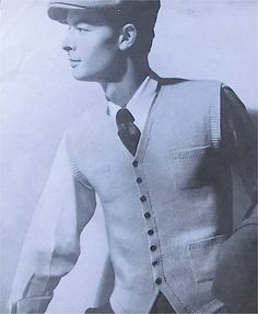 1940s mens waistcoat knitting pattern by sarasellsvintage on Etsy. £2.00, via Etsy.