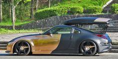 Forgiato Monoleggera - Spacco-M on the Nissan 350Z in custom Gold and Gray Chrome Wrap