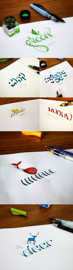 Istanbul-based artist Tolga Girgin creates beautifully scripted calligraphy that seems to leap off the page.: