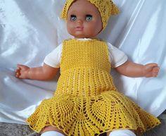Crochet Baby Dress Newborn dresses Yellow baby dress Baby