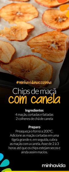 Cinnamon apple chips: low calorie snack option … – About Healthy Meals Sweet Recipes, Snack Recipes, Healthy Recipes, Healthy Breakfast Snacks, Cinnamon Apple Chips, Low Calorie Snacks, Healthy Sugar, Healthy Comfort Food, Love Food