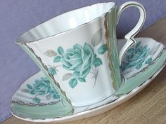 Antique Royal Standard blue rose tea cup and by ShoponSherman