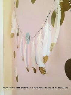 Pearls & Pastries Shop  gold feather diy garland easy fun