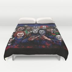 Horror Villains Selfie Duvet Cover by Eeriette Home Theater Setup, Home Theater Seating, Bedroom Themes, Bedroom Decor, Bedroom Ideas, Horror Room, Horror House, Movie Bedroom, Horror Villains