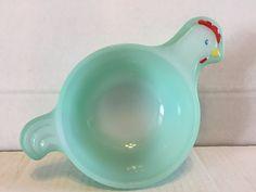 Vintage Glasbake Hand-Painted Green Chicken Milk Glass Jadeite Soup Bowl