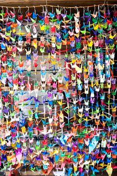 lots of paper cranes