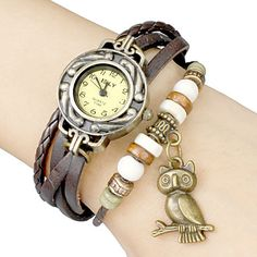 Women's Vintage Uil hanger ronde wijzerplaat gevlochten pu band quartz analoog armband horloge (verschillende kleuren) – EUR € 6.89