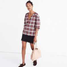 Madewell Morningview Tie-Sleeve Shirt in Burgundy Plaid