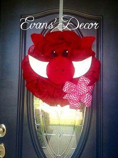 Arkansas Razorback Wreath Hog Wreath Arkansas by EvansDoorDecor