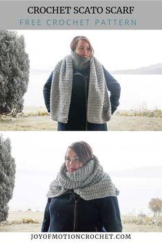 Crochet scarf pattern for women. Crochet scarf pattern for fall and winter. Crochet scarf chunky and cozy. Crochet Cowl Free Pattern, Scarf Crochet, Easy Crochet Patterns, Crochet Stitches, Free Crochet, Crochet Ideas, Cowl Patterns, Yarn Thread, Modern Crochet