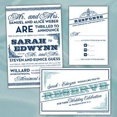 Custom Vintage Typography Wedding Invitations & Matching Save The Date. from PuttinOnTheGlitz4U via Etsy.