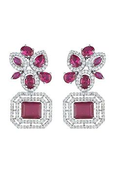 Featuring a pair of white rhodium plated earrings studded with faux diamonds and ruby, set in mixed metal. CARE: Store them in moisture free areas and keep them away from water and liquid fragrances. Wedding Jewelry, Gold Jewelry, Indian Fashion Designers, Pernia Pop Up Shop, Ruby Earrings, Designer Earrings, Designer Wear, Plating, Engagement Rings