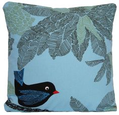 Blue Cushion Cover Black Bird Throw Pillow by CoralHomeAccessories