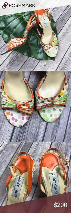 Jimmy Choo Silk Polka Dot Sling Backs Retail $735 (gently used/very light discoloration throughout) women's size: 38 narrow Jimmy Choo Shoes Heels