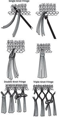Instructions for single, double and triple knot fringe