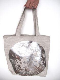 linen tote bag - silver foil moon!// moon