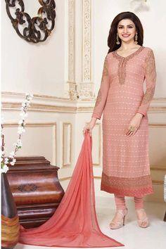 Peach Georgette Designer Salwar Kameez