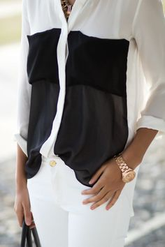 Simple black and white fashion - lovin this top Spring Summer Fashion, Autumn Fashion, Moda Fashion, Womens Fashion, Fashion Drug, Casual Chique, White Skinny Jeans, Skinny Pants, Street Style