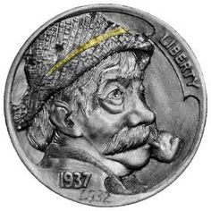 Lee Griffiths Hobo Nickel, Coin Art, Old Coins, Coin Collecting, Art Forms, Metal Art, Sculpture Art, Buffalo, Carving