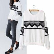 Fashion Europe Womens Ethnic Print Blouse Hoodie Sweat Sweatshirt