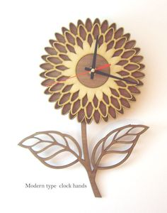 Handmade decorative wall clock from carefully selected quality wood, cut with precision laser cutter machine. All wood are in their natural color – texture without any dyeing process. Wall Clock Oak, Wall Clock Gift, Wall Clock Design, Diy Clock, Wooden Clock, Wooden Wall Art, Wooden Walls, Cool Clocks, Unique Wall Clocks