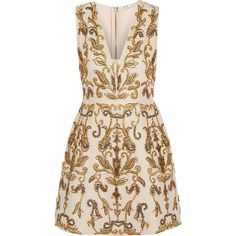 Alice + Olivia Prescilla embellished duchesse-silk mini dress (8.860 ARS) ❤ liked on Polyvore featuring dresses, gold, embroidered cocktail dress, embroidery dress, short dresses, short fitted dresses and fitted dresses