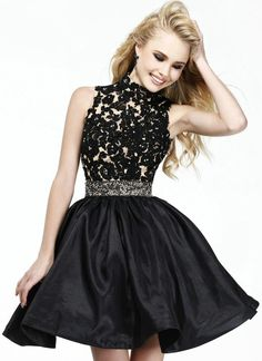 Top Selling Ball Gown Lace Appliqued High Neck Empire Prom Dress