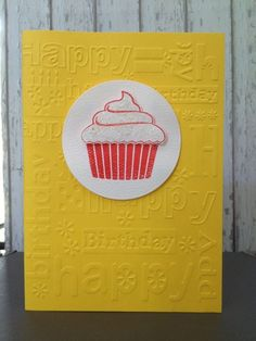 Cute yellow happy birthday cupcake card