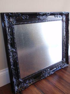 "The ""Juliana"" Ornate Vintage / Antique Replica Black Framed 16 x 20 Stainless Steel Magnet Bulletin, Memo, Dry Erase Board, 6 Jewel Magnets"