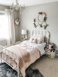 Looking for ideas to create a space that your kids will love? The nursery is the perfect place to discover imaginative ideas, from archival shelves to butterfly wallpapers to neon bed frames… Girl Bedroom Designs, Room Ideas Bedroom, Rustic Girls Bedroom, Simple Girls Bedroom, Master Bedroom, Girls Bedroom Light, Bedroom Decor Kids, Girls Bedroom Blue, Room Decor For Girls