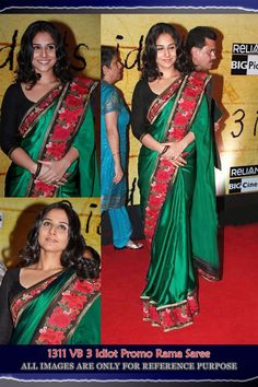 Vidya Balan Rama Green Bollywood Replica Saree
