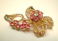 Vintage Brooch Bouquet of Pink Rhinestone Flower by BagsnBling, $8.50