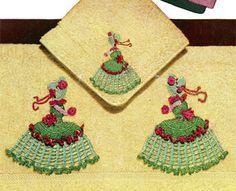 Crinoline Ladies Bath Towel & Face Cloth motif crochet pattern from Crinoline Lady in Crochet, originally published by Coats & Clark, Book No. 262, in 1949.