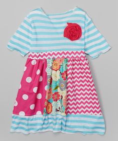 Look at this Hot Pink Garden Rosette Babydoll Dress - Toddler & Girls on #zulily today!