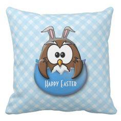 Easter owl - blue pillow