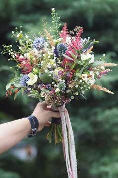 Colorful forest and meadows bridal bouquet from Aumann Garten & Wohnen GmbH # Wedding Bouquets, Wedding Flowers, Wedding Ceremony, Our Wedding, Cut Flowers, Wedding Colors, Floral Arrangements, Beautiful Flowers, Rustic Wedding
