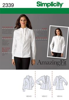 2339 Misses' & Miss Petite Shirts  Amazing Fit Collection. Misses' & Miss petite shirt sewing pattern with individual pattern pieces for & A, B, C, D cup sizes.