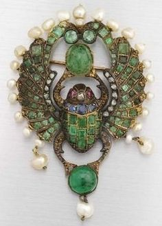 Vintage Jewelry An Egyptian Revival gem set scarab brooch, circa Emeralds, sapphires, pearls, rubies and rose-cut diamonds in Bijoux Art Nouveau, Art Nouveau Jewelry, Jewelry Art, Fine Jewelry, Ruby Jewelry, Silver Jewelry, Fashion Jewelry, Egyptian Jewelry, Ancient Jewelry