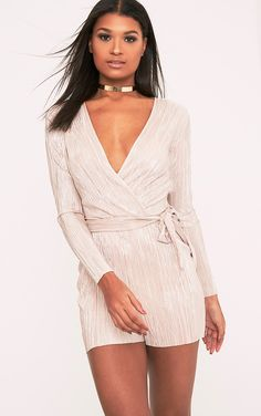 83a878aba6f Gold Wrap Pleated Playsuit Get totally lust- worthy vibes this season with  this playsuit