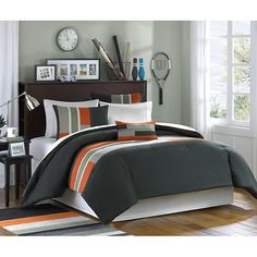 Upgrade your child's bedroom decor with this fun and modern comforter set. Crafted using soft microfiber, this bedding set features a stylish blue, grey and green colorblocking pattern. This handsome Green Comforter, Queen Comforter Sets, Bedding Sets, Orange Bedding, Twin Comforter, Striped Bedding, Blue Duvet, Bedroom Orange, Black Bedding