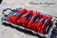 Twizzlers~Just did this today for 4th of July tonight:) Easy and cute!