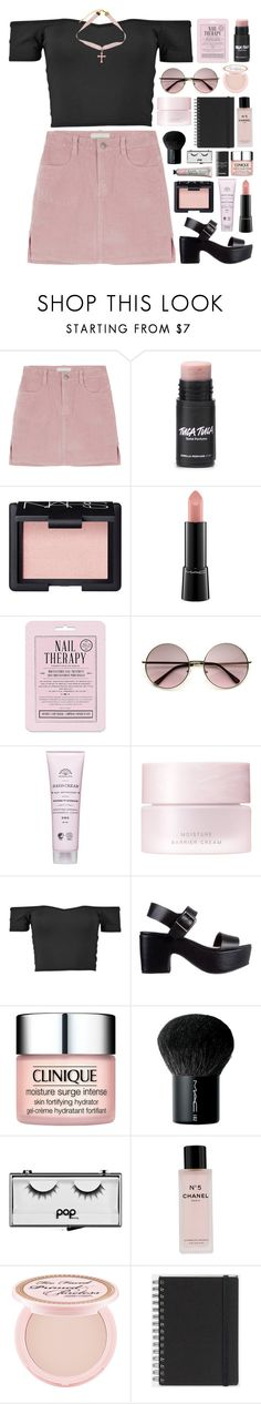 """""""//blush//"""" by bananafrog ❤ liked on Polyvore featuring NARS Cosmetics, MAC Cosmetics, Love 21, SUQQU, Soles, Clinique, Pop Beauty, Chanel, Too Faced Cosmetics and Muji"""