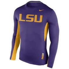 c1e0625ac LSU Tigers Nike Dri-Fit Purple Vapor Sideline Mens Long Sleeve Shirt Lsu  Tigers