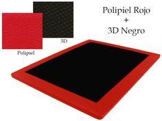 Base Tapizada Polipiel Rojo + 3D Negro