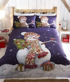 Happy Snowman Christmas Duvet Quilt Cover Bedding Set from Snowman Bedding SetsSnowman Bedding Sets - Among the most cr King Duvet Cover Sets, Double Duvet Covers, Single Duvet Cover, Duvet Sets, Bed Covers, Pillow Covers, Velvet Duvet, Christmas Bedding, Bed Sets