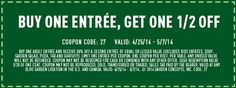 Buy one entree, get one 1/2 off at Olive Garden with coupon through May 7. See coupons and free offers here: http://www.bestfreestuffguide.com/Free_Olive_Garden_Coupons